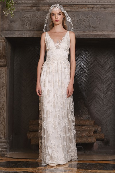 From the Claire Pettibone runway show at Bridal Fashion Week